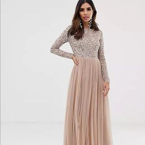 Maya Bridesmaid long sleeve maxi tulle dress PROM